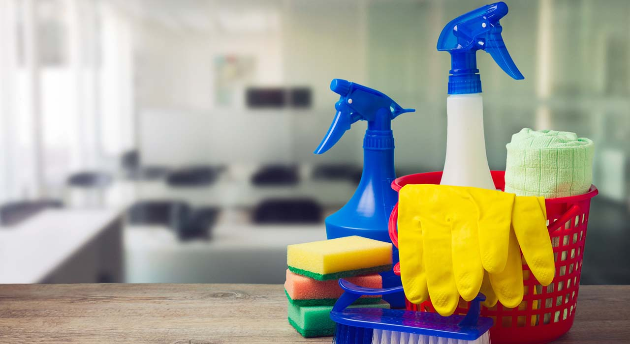 Office cleaning service concept with supplies