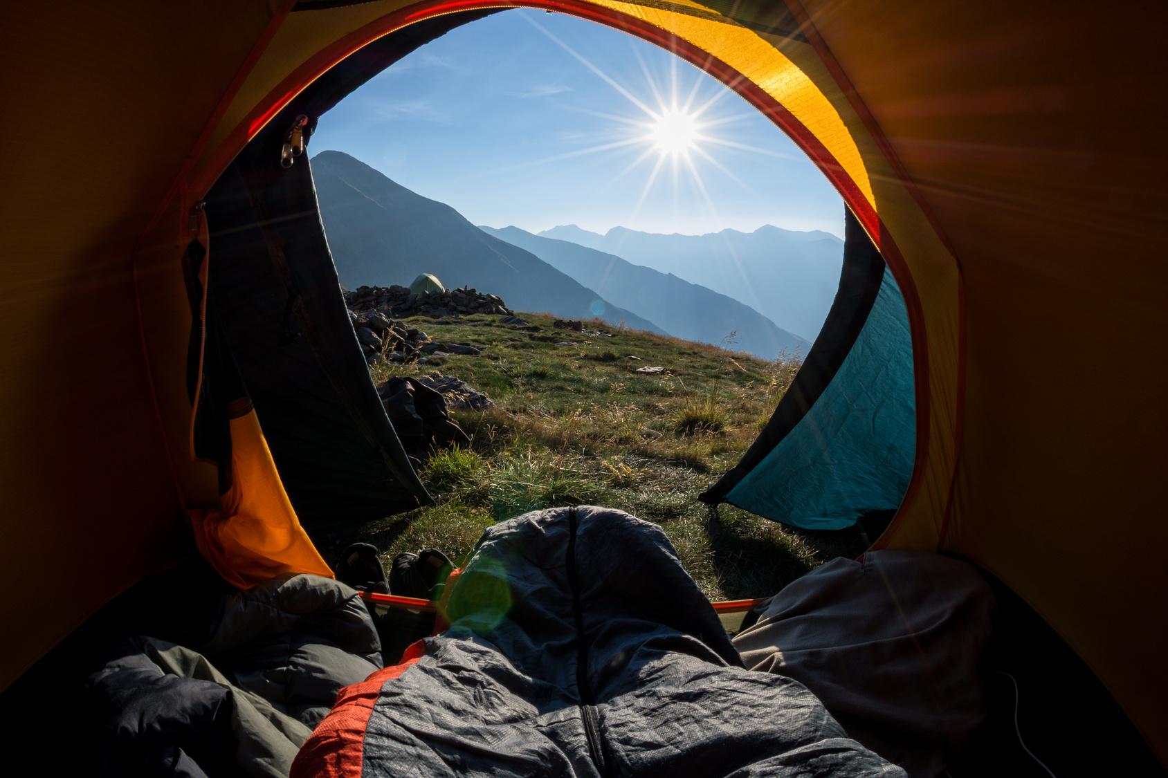 Waking up in the tent